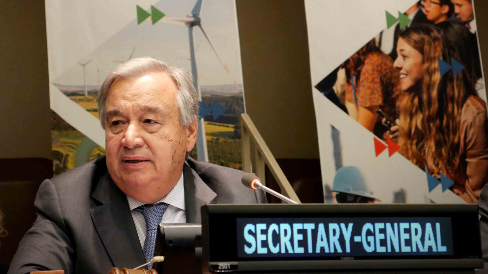 UN Secretary-General António Guterres at a meeting to prepare the Climate Summit.