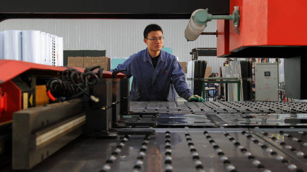 machine tool worker  solar industry China