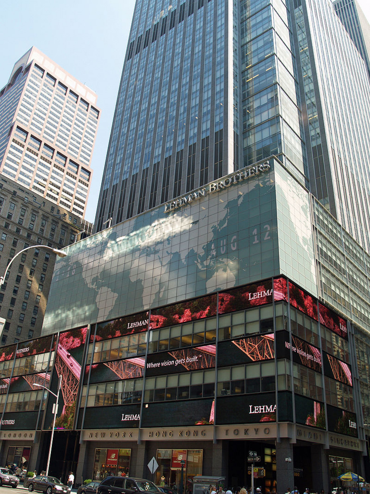 The Lehman Brothers headquarters in New York in August 2007, about a year before the bankruptcy.