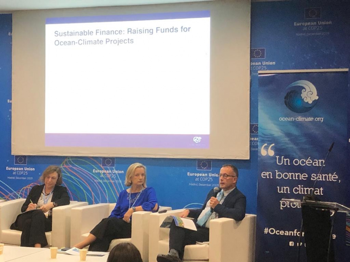 "At the COP the Ocean-Climate Platform launched their policy-recommendations ""A Healthy Ocean, A Protected Climate"". Torsten Thiele of IASS presented the section on Sustainable Finance."