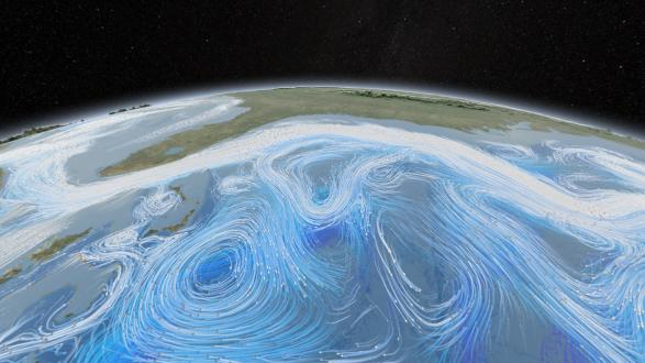 The global ocean circulation system and the circulation system of the atmosphere are changing due to global warming. This NASA illustration shows a complex pattern of large and minor surface currents.