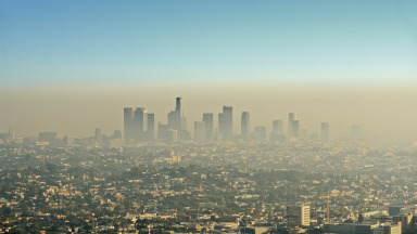 Smog in Los Angeles, where research on ozone as an air pollutant first began.