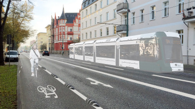 Many people are happy about the new bicycle lane on Potsdam's Zeppelinstraße.