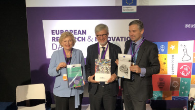 Pearl Dykstra, EC Group of Chief Scientific Advisors; IASS Scientific Director Ortwin Renn; David Mair, European Commission, DG Joint Research Centre (JRC)
