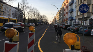 Berlin's pop-up cycle lanes ensure more safety for cyclists.