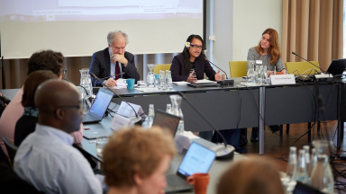 Andreas Papaconstantinou (European Commission), Ngedikes Olai Uludong (Permanent Representative to the UN from Palau) and Barbara Neumann (IASS) were among the experts who gathered at the IASS for the workshop.