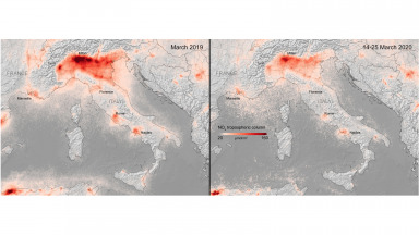 Nitrogen dioxide concentrations over Italy from 14 to 25 March 2020, compared to the monthly average concentrations from 2019.