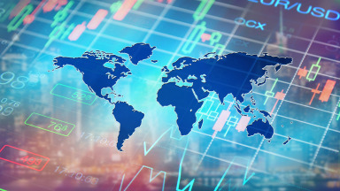 World financial system World map Stock market prices